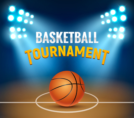 Basketball vector tournament background. Basketball court arena game poster. Banner realistic design basket template.