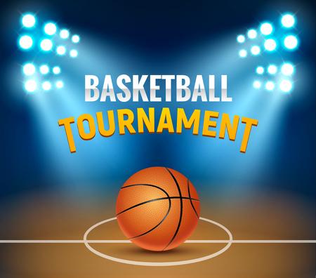 Fond de tournoi de vecteur de basket-ball. Affiche de jeu d'arène de terrain de basket. Modèle de panier de conception réaliste de bannière.