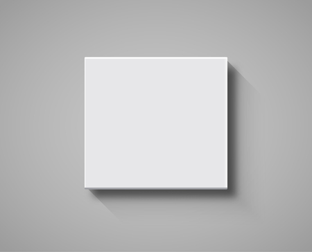 White Box top view mockup. 3d package blank template isolated box design. Vector Illustration