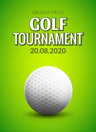Golf tournament poster template flyer. Golf ball on green grass for competition. Sport club vector design.
