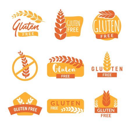 Gluten free drawn isolated sign icon set. Healthy lettering symbol of gluten free.