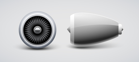 Jet turbine, engine plane vector isolated. Aircraft turbo blade motor. Airplane front side view engine. Illustration