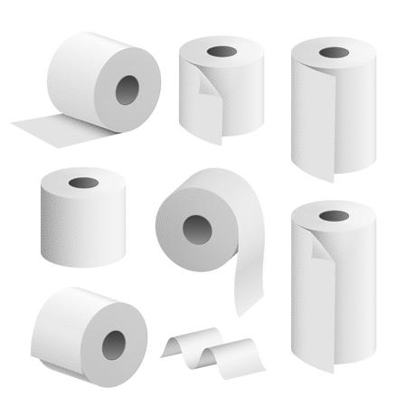 Rotolo di carta igienica. Illustrazione realistica isolata dell'icona dell'asciugamano della toletta. Nastro adesivo bianco per wc da cucina. Vettoriali
