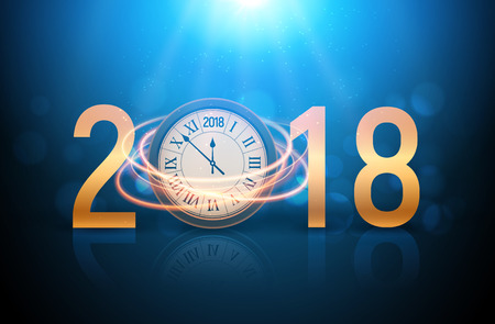 2018 new year shining background with clock. Happy new year 2018 celebration decoration poster, festive card template. Ilustracja