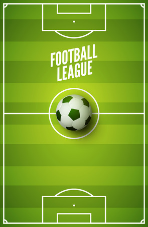 Soccer grass field background. Football green field with ball. Sport stadium area.
