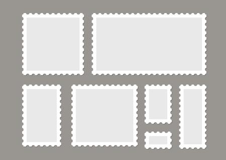 Blank postage stamps vector set isolated. Mark mail letter stamps design. Postal frame sticker. Ilustrace