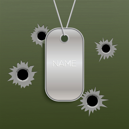 Military tag vector army chain metal soldier necklace isolated id name. Silver war tag on wall holes illustration.