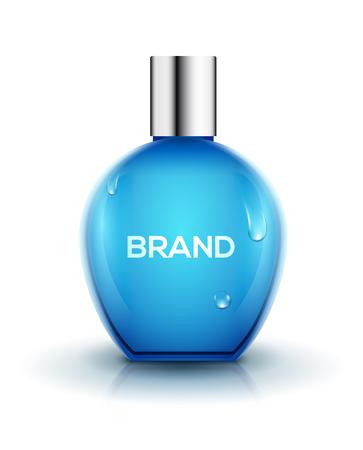 Vidrio de diseño de botella de perfume. Cuidado femenino cosmético del envase del vector de la belleza. Diseño de productos de perfumería. Ilustración de vector