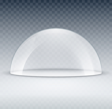 Glass dome container mock-up. Plastic dome model cover for exhibition isolated. Blank vector transparent dome.  イラスト・ベクター素材