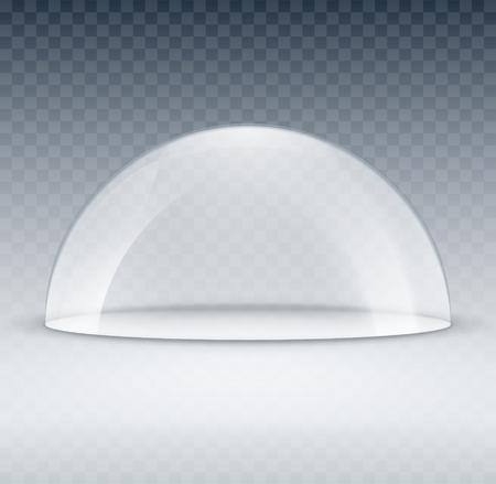 Mock-up di contenitore con cupola in vetro. Coperchio modello cupola in plastica per esposizione isolato. Cupola trasparente vettoriale in bianco.