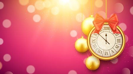 2018 new year shining background with clock. Happy new year 2018 celebration decoration golden balls poster, festive card template. Ilustracja