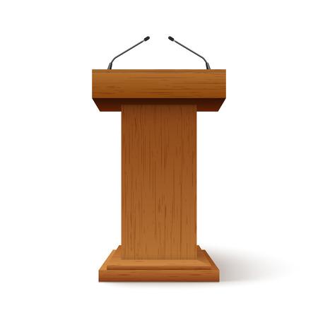 Supporto per il discorso sul podio della tribuna. Palco per conferenze con microfono, altoparlante per la stampa o per il dibattito pulpito isolato dell'oratore