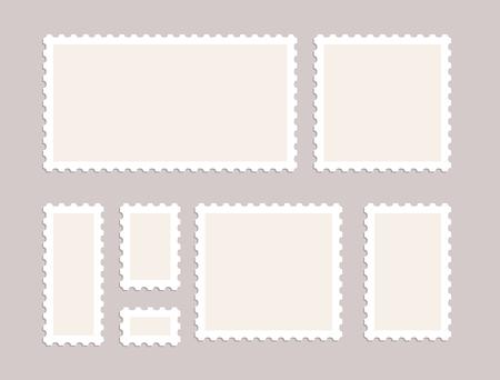 Blank postage stamps vector set isolated. Mark mail letter stamps design. Postal frame sticker Ilustrace