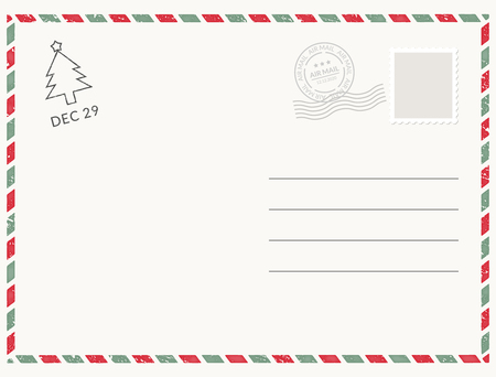 Postcard template paper white texture. Vector postcard empty mail stamp and message design Vektorové ilustrace