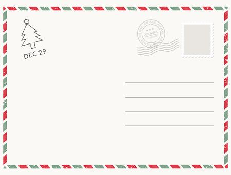 Struttura bianca della carta del modello della cartolina. Cartolina vettoriale timbro di posta vuoto e design del messaggio Vettoriali