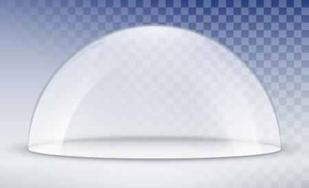 Modello di contenitore a cupola in vetro. Coperchio modello cupola in plastica per esposizione isolato. Cupola trasparente vettoriale vuota