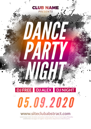 Disco dance party flyer poster. DJ dance music template event