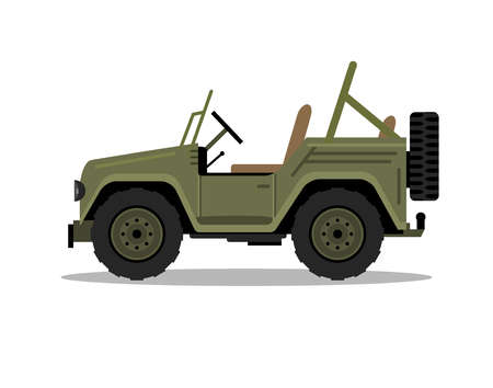 Military army car jeep vehicle. Humvee vector hummer cartoon flat safari oddroad truck illustration