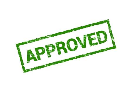 Segno di timbro di gomma sigillo approvato vettoriale. Design timbro isolato approvato grunge verde Vettoriali