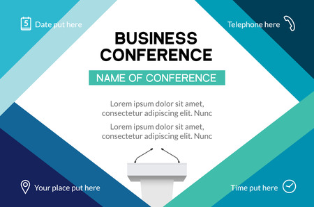Business conference simple template invitation. Geometric magazine conference or poster business meeting design banner 向量圖像