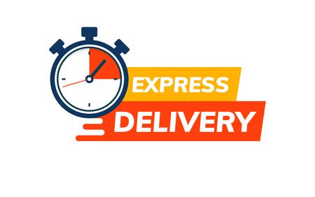Logo del servizio di consegna espressa. Ordine di consegna veloce con cronometro. Icona di consegna della spedizione rapida