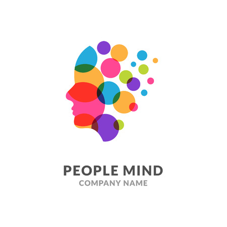 Human head face logo, creative brain man. Digital profile face innovation intelligence mind design logo Illustration