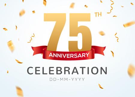 Numéros d'or 75 anniversaire avec des confettis dorés. Modèle de fête d'événement de célébration du 75e anniversaire