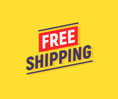 Free shipping delivery banner design. Truck product shipping promotion typography