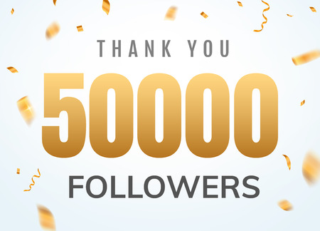 Thank you 50000 followers design template social network number anniversary. Social users golden number friends thousand celebration Illustration