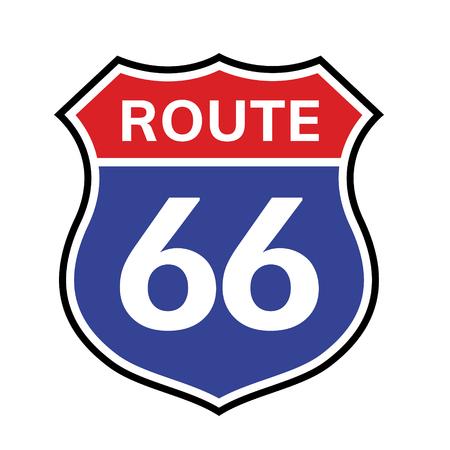 66 icona del segno di percorso. Vector road 66 autostrada interstatale american freeway us california route symbol