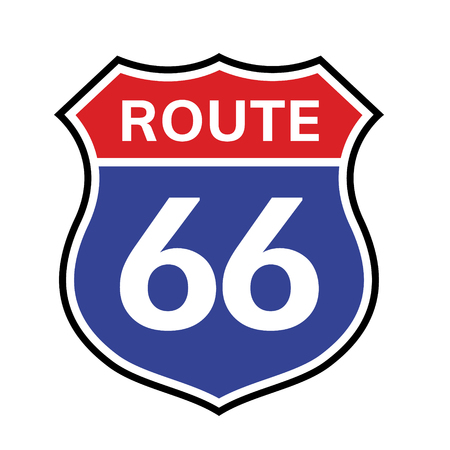 Icono de signo de ruta 66. Vector carretera 66 autopista interestatal autopista americana símbolo de ruta de california de estados unidos