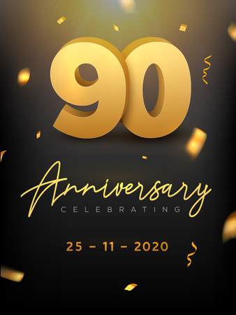 90 Years Anniversary Celebration event. Golden Vector birthday or wedding party congratulation anniversary 90th Illustration