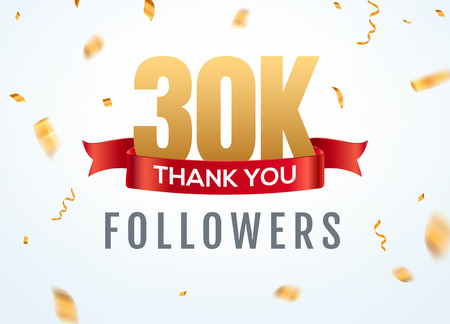 Thank you 30000 followers design template social network number anniversary. Social 3k users golden number friends thousand celebration