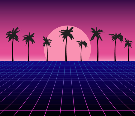 Synth wave retro grid background  Synthwave 80s vapor vector