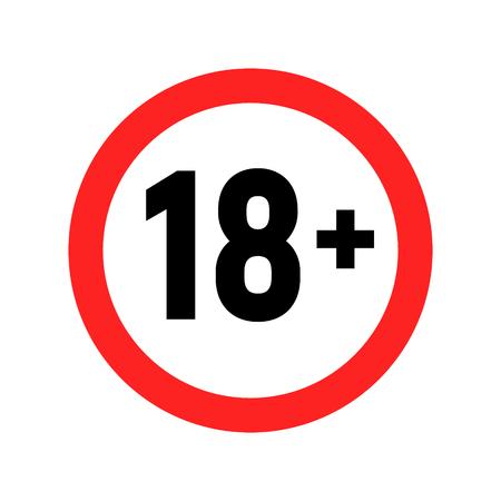 Símbolo de advertencia de signo menor de 18 años. Mayores de 18 solo censurados. Contenido para adultos prohibido para mayores de 18 años