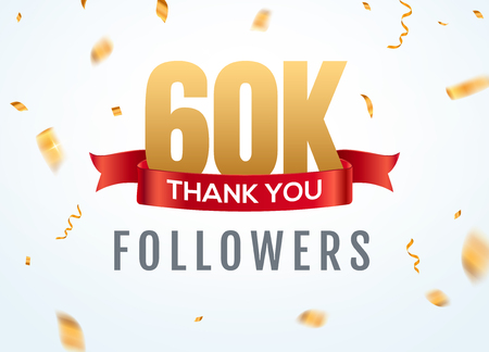Thank you 60000 followers design template social network number anniversary. Social 60k users golden number friends thousand celebration Иллюстрация
