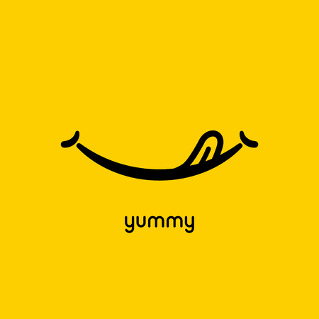 Yummy face smile delicious icon logo. Yummy tongue emoji tasty or hungry mouth smile