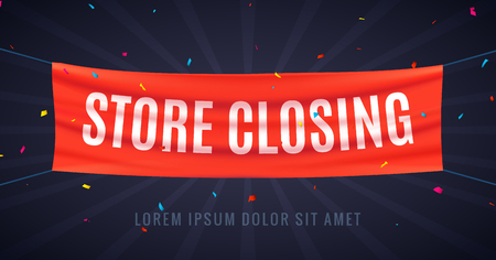 Store closing banner sign. Sale red flag isolated with text store closing, poster frame clearance offer Illusztráció