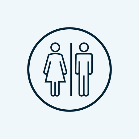WC sign restroom icon. Toilet bathroom male and female symbol. Wc isolated line pictogram Vectores