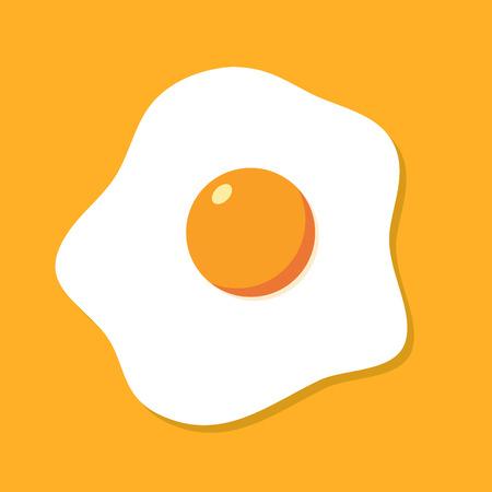 Fried egg breakfast cartoon icon isolated. Flat omelet meal yolk logo shape symbol design