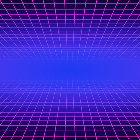 Synth wave retro grid background. Synthwave 80s vapor vector game poster neon futuristic laser space arcade Stock Illustratie