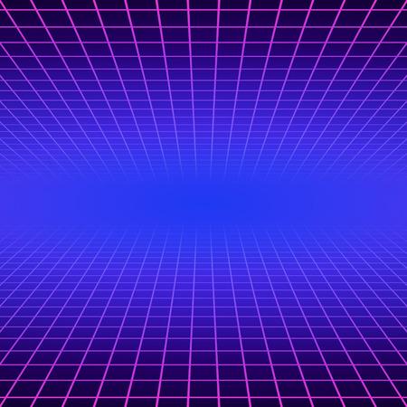 Synth-Welle Retro-Raster-Hintergrund. Synthwave 80s Vapor Vector Game Poster Neon futuristische Laser Space Arcade