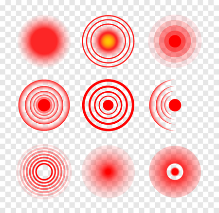 Red target circle medical vector ripple. Sore hurt spot place. Wave therapy symbol pain ache red target 向量圖像