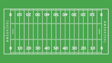 Fondo del campo di football americano. Illustrazione del campo in erba dello stadio di rugby Vettoriali