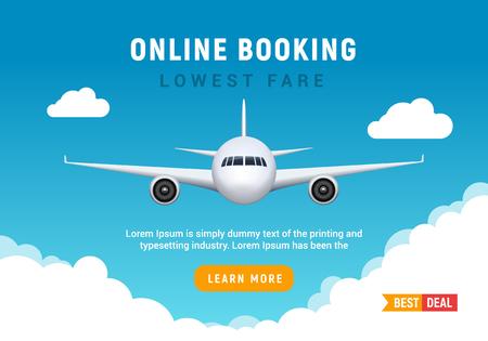 Banner di viaggio di viaggio aereo per la prenotazione online. Modello promozionale di vendita online di biglietti aerei di vettore Vector Vettoriali