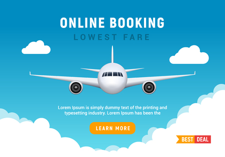 Flight travel trip banner for online booking. Vector Airplane ticket online sale design promo template Illusztráció