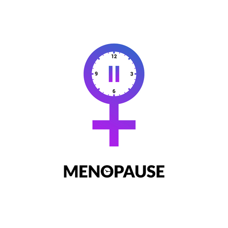 Menopause icon awareness. Woman fertility age clock menstrual period logo