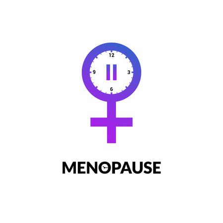 Menopause icon awareness. Woman fertility age clock menstrual period logo