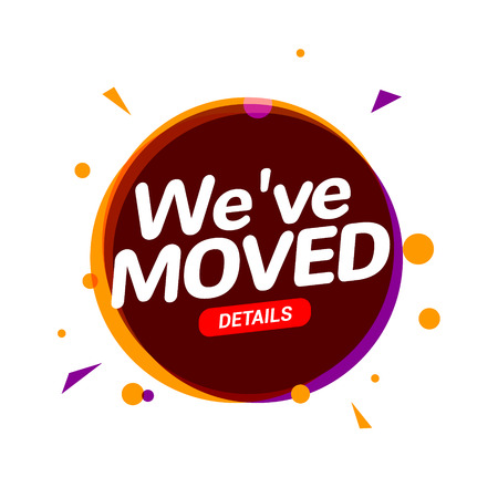 We have moved new office address icon location. Move change location announcement speaker concept Stockfoto - 122354743