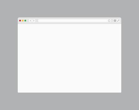 Fenster des Webbrowsers. Computer- oder Internet-Rahmenschablonendesign des flachen Seitenmodells. Webbrowser mit leerem Bildschirm
